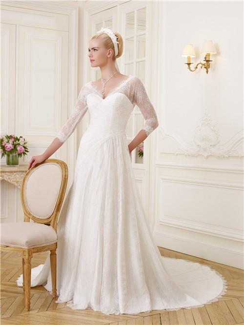 0bd357aa7d Elegant A Line V Neck And Back 3 4 Length Sleeve Lace Wedding Dress