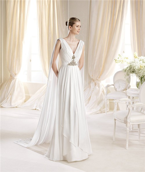 Elegant a line v neck chiffon draped wedding dress with shawl for Shawls for wedding dresses