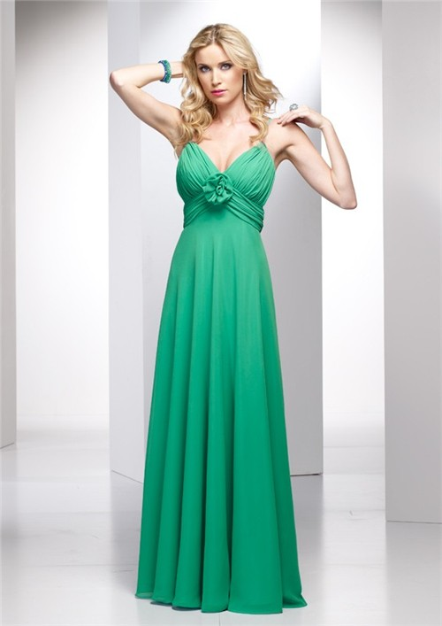 Elegant A Line Spaghetti Strap Long Green Chiffon Summer