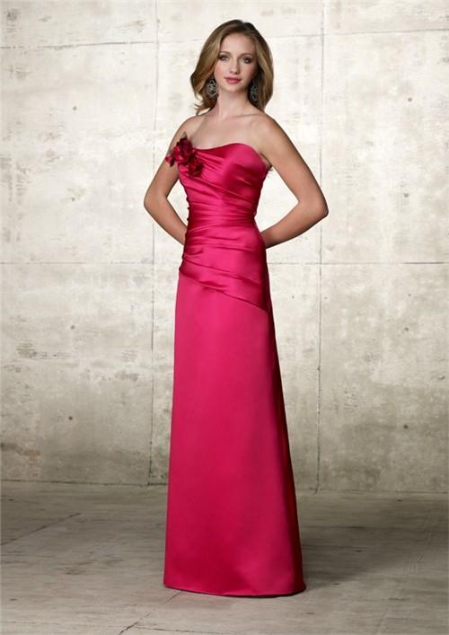 Elegant A Line Strapless Long Hot Pink Satin Wedding Guest