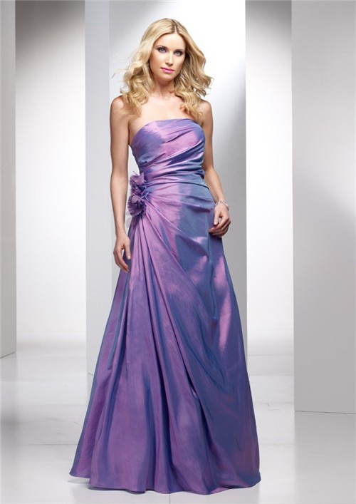 A line Strapless Long Lavender Purple Wedding Guest Dress