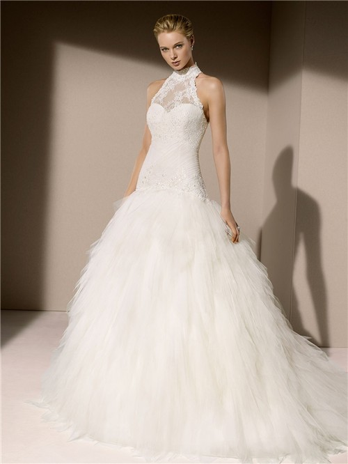 Elegant ball gown high neck drop waist lace tulle layered for Tulle layered wedding dress