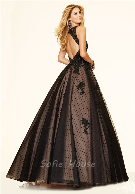 Home » Elegant Ball Gown Open Back Black Tulle Lace Beaded Prom Dress