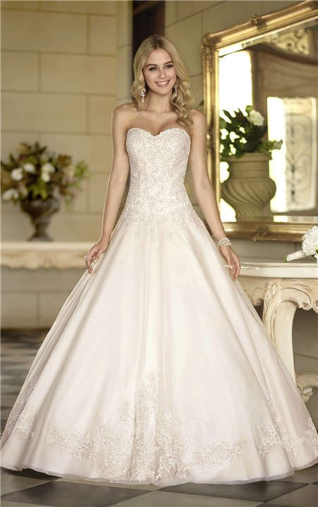 Elegant ball gown strapless ivory satin lace corset for Elegant ball gown wedding dresses