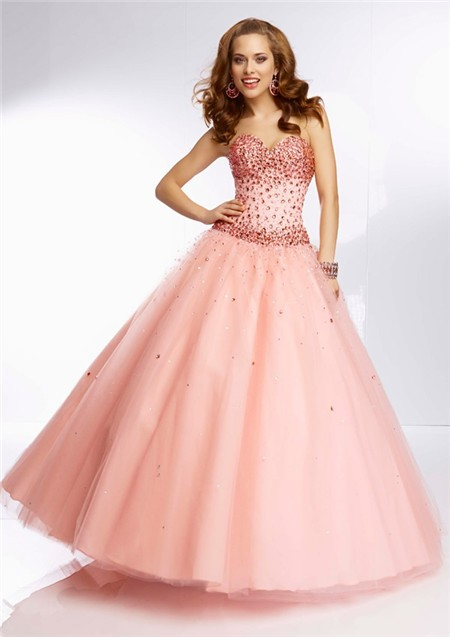 Elegant Ball Gown Sweetheart Coral Tulle Jewel Beaded Prom