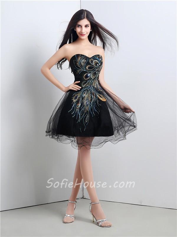 Elegant Ball Strapless Short Mini Black Tulle Peacock Applique Prom ...