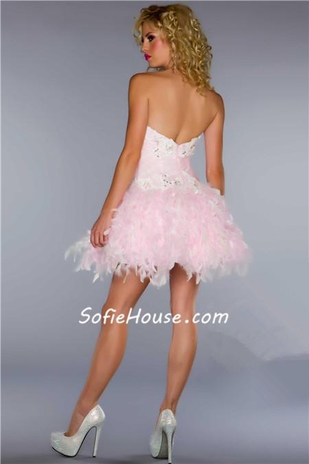 elegant ball sweetheart short mini light pink feather