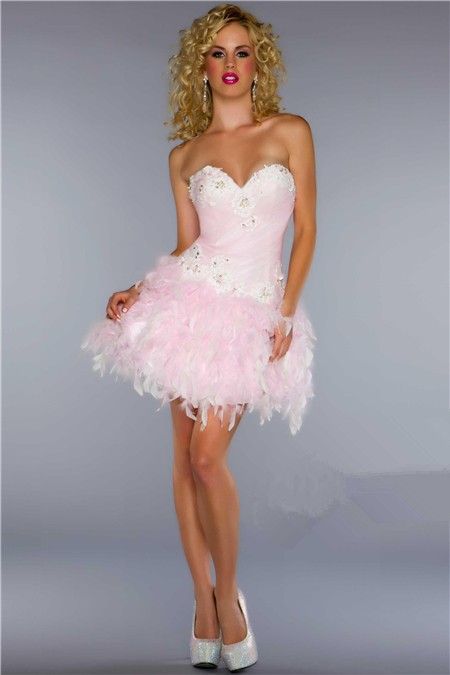 Elegant Ball Sweetheart Short Mini Light Pink Feather