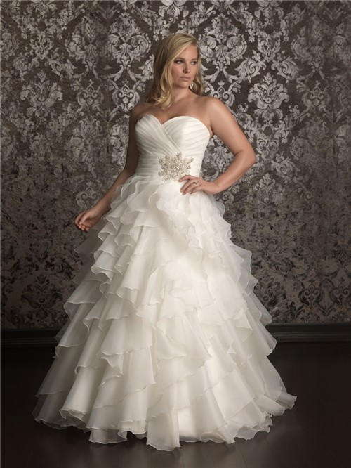 Elegant Ball gown sweetheart sweep train organza plus size wedding ...