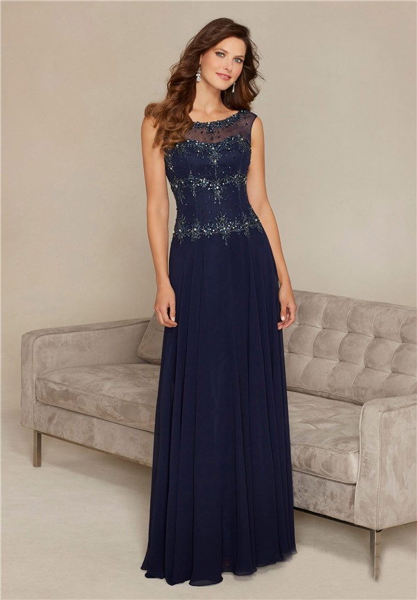 Long Chiffon Prom Dress with Bateau-Neck Lace Bodice (With