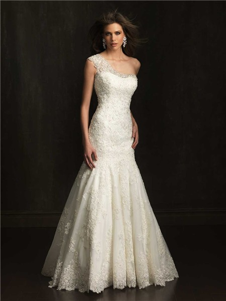 Elegant fitted mermaid one shoulder lace beaded wedding for Lace one shoulder wedding dress