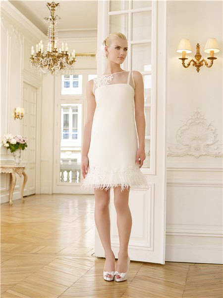 Elegant Illusion Neckline Lace Applique Feather Short Casual Wedding Dress With Pearls Buttons