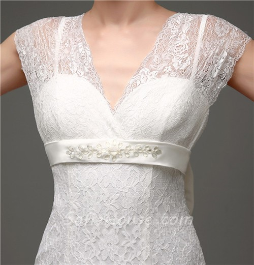 Elegant Mermaid Cap Sleeve Lace Corset Wedding Dress With