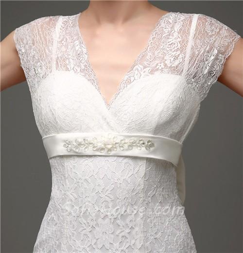 Elegant mermaid cap sleeve lace corset wedding dress with for Lace sleeve corset wedding dress
