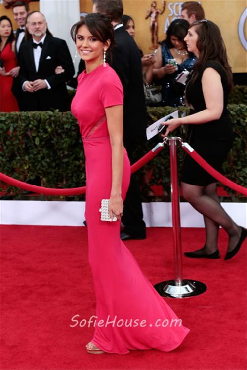 Elegant Mermaid Long Red Chiffon Nina Dobrev Oscar Red Carpet ...