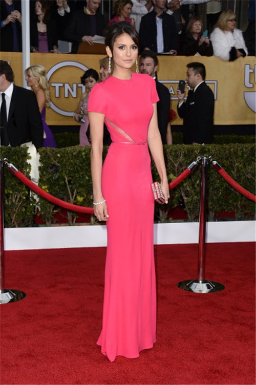 Elegant Mermaid Long Red Chiffon Nina Dobrev Oscar Carpet Celebrity Dress
