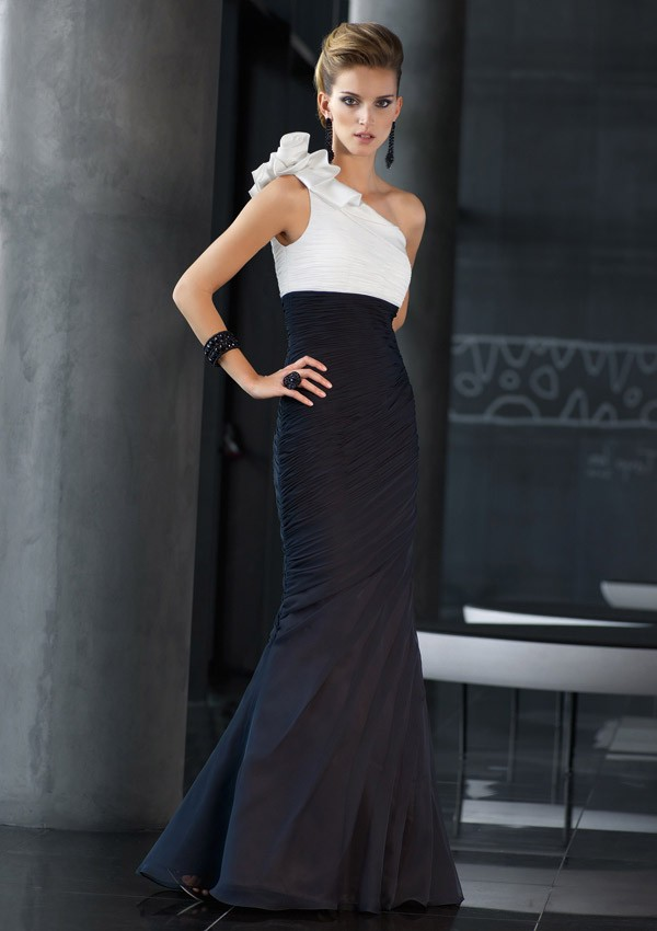 895f914801de2b Elegant Mermaid One Shoulder Black And White Chiffon Ruched Occasion  Evening Dress