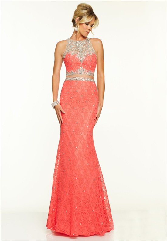 elegant mermaid sleeveless two piece coral lace beaded