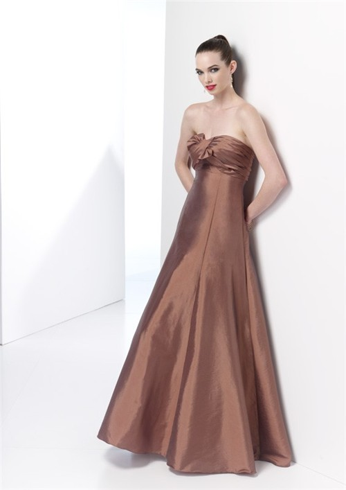 Elegant mermaid strapless long brown taffeta spring for Brown dresses for wedding guest