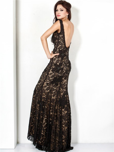 Elegant Mermaid Straps Long Black Lace Beaded Evening
