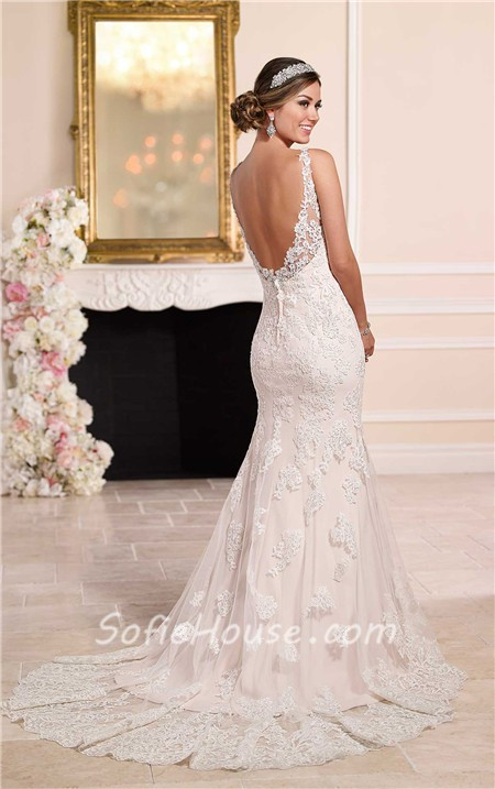 Elegant mermaid sweetheart backless vintage lace wedding for Vintage backless wedding dresses