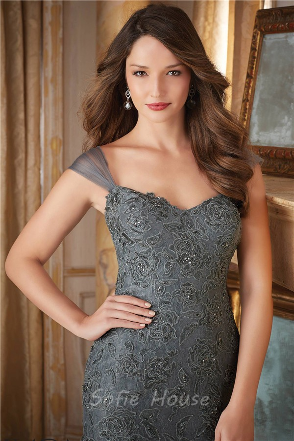 Elegant Mermaid Sweetheart Charcoal Grey Tulle Lace Beaded Evening ...