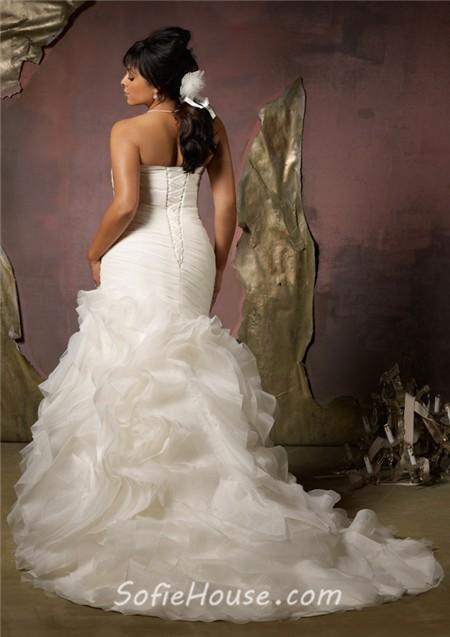 Elegant mermaid sweetheart corset back organza ruffle plus for Corset wedding dresses plus size