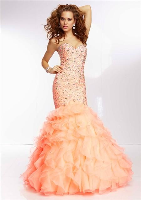 2987e3b204b Elegant Mermaid Sweetheart Light Orange Organza Ruffle Prom Dress Corset  Back