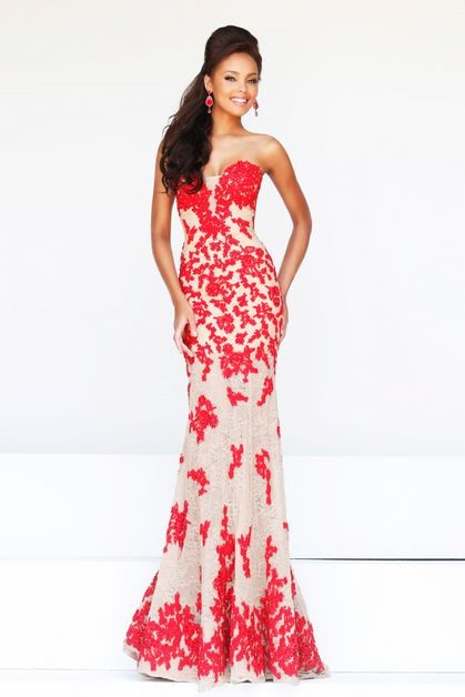 98ed8987dd2 Elegant Mermaid Sweetheart Long Champagne Tulle Red Lace Occasion Prom Dress