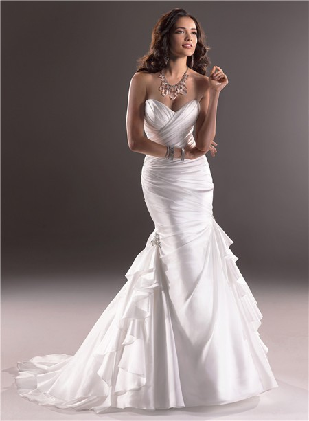 Mermaid Sweetheart Organza Wedding Dress With Corset Back