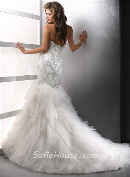 Elegant Mermaid Sweetheart Satin Tulle Wedding Dress With Beading ...
