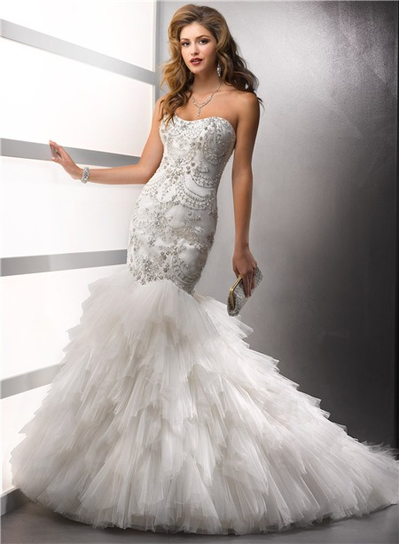 Mermaid Sweetheart Satin Tulle Wedding Dress With Beading Crystals