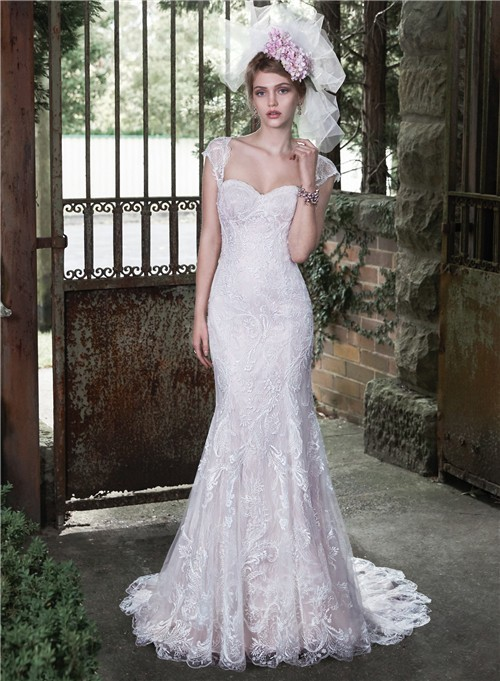 Elegant Mermaid Sweetheart Vintage Lace Wedding Dress Detachable Cap Sleeves