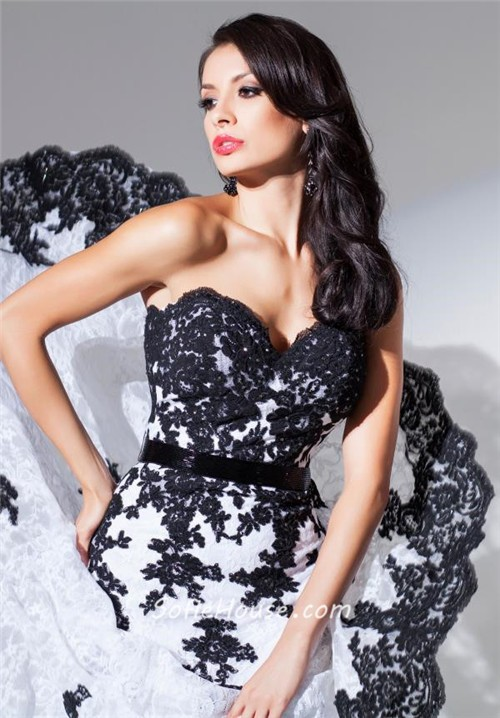 Elegant Mermaid Sweetheart White And Black Tulle Lace Long Prom ...