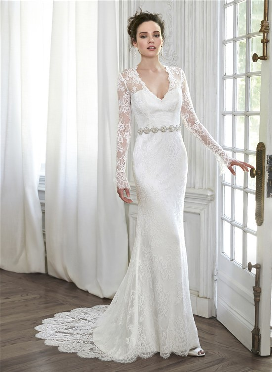 Mermaid V Neck Illusion Back Long Sleeve Lace Wedding Dress