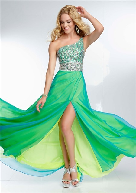 Elegant One Shoulder Long Yellow Green Chiffon Layered Beaded Prom ...