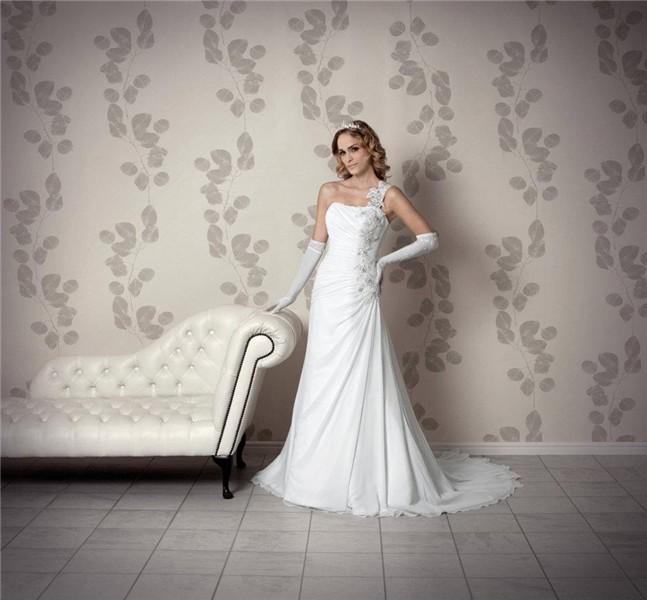 4c229d0ceaa Elegant One Shoulder Strap Draped Chiffon Lace Beaded Corset Wedding Dress