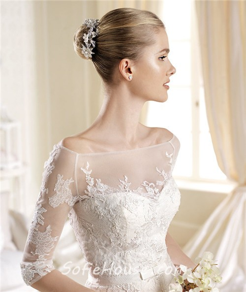 Lace wedding dress sweetheart neckline sleeves