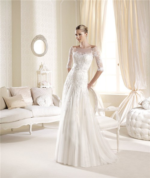 Elegant princess a line illusion neckline off the shoulder for Wedding dresses with illusion neckline and sleeves