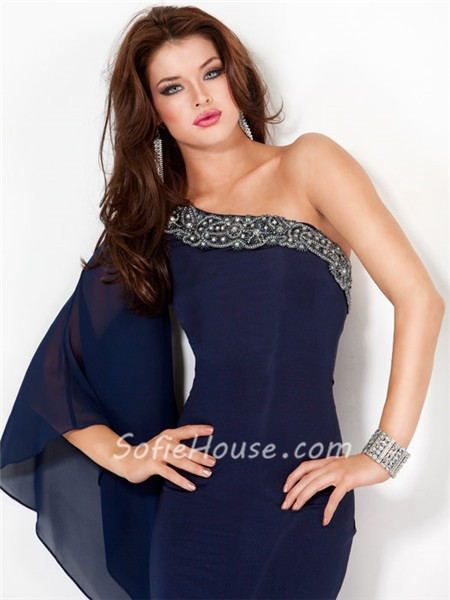 elegant long evening dress blue