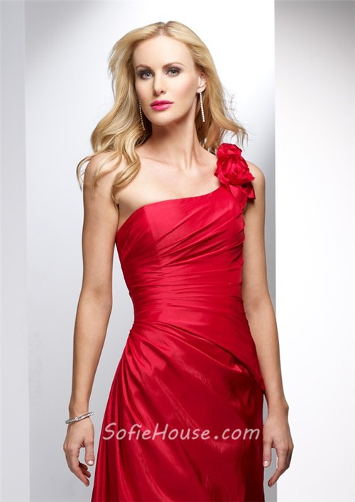Elegant sheath one shoulder long red taffeta summer for Red dress for wedding guest
