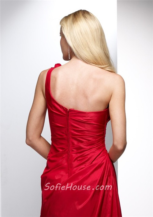 Elegant sheath one shoulder long red taffeta summer for One shoulder dress for wedding guest