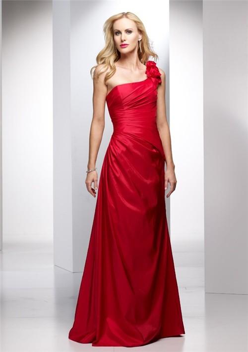 Elegant sheath one shoulder long red taffeta summer for Red wedding guest dresses