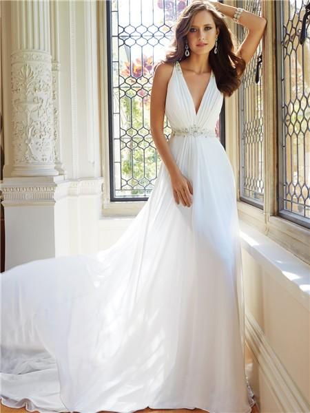 Elegant sheath pluning v neckline sheer illusion back for Different necklines for wedding dresses