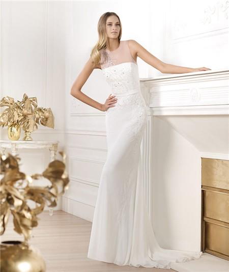 Elegant sheath sheer illusion scoop neckline tulle chiffon for Chiffon tulle wedding dress