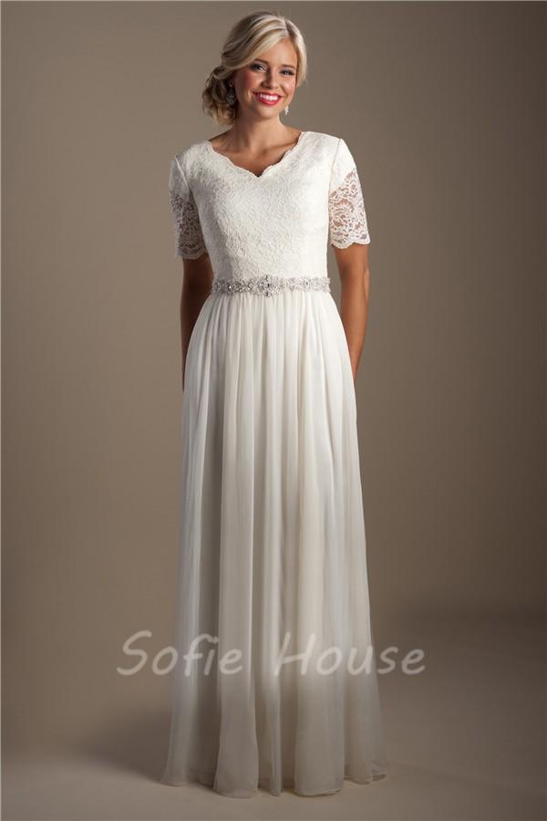 Elegant sheath short sleeve lace chiffon modest beach for Modest elegant wedding dresses