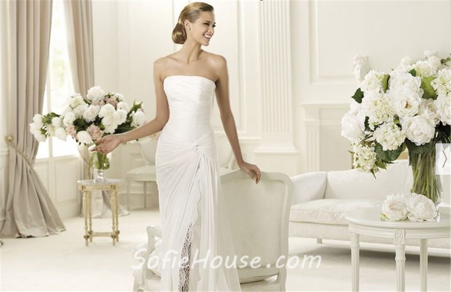 Elegant Sheath Strapless Ruched Chiffon Beach Wedding