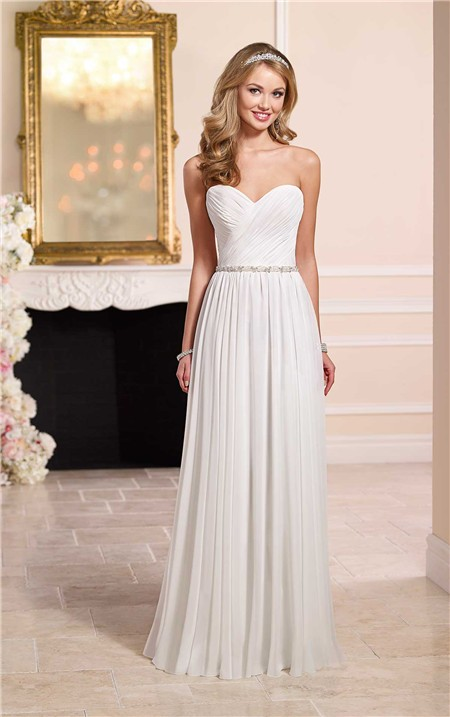 Elegant sheath sweetheart chiffon beach wedding dress for Beach chiffon wedding dress