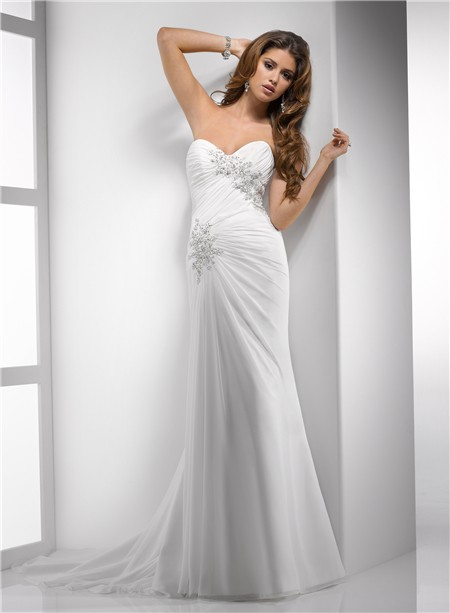 Elegant sheath sweetheart destination beach chiffon for Beach chiffon wedding dress