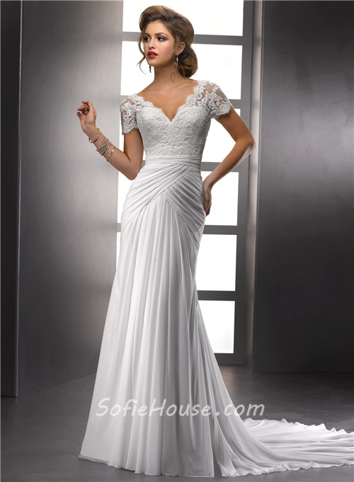 elegant sheath v neck lace chiffon summer wedding dress